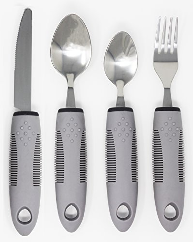 Handle Cutlery - Adaptive Utensils (4-Piece Kitchen Set) Non-Weighted, Non Slip Wide Handles for Hand Tremors, Arthritis, Parkinson's Disease or Elderly use | Cutlery Silverware - Knife, Fork, Spoons (Gray - 1 Set)