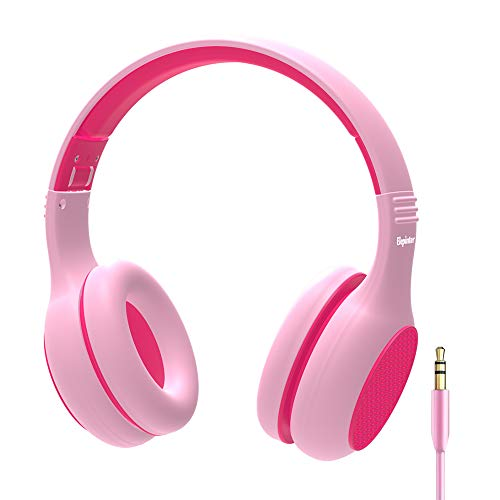 Elepinter Kids Headphones with 85dB Volume Limited Hearing Protection & Music Sharing Function, Tangle-Free Cord, Wired On-Ear Headphone for Children Toddler Teens (Pink Rose)