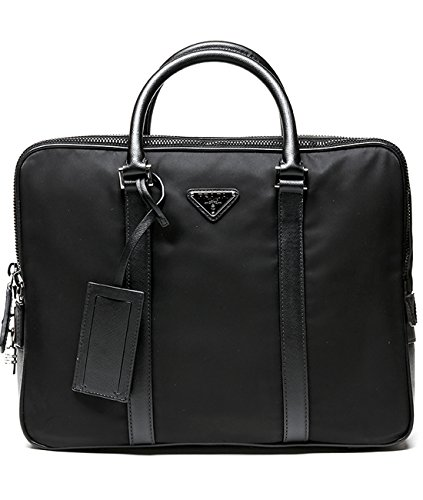 Prada Men's Zippered With Lock Real Leather Briefcase One Size - Bags Classic Prada