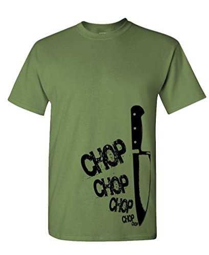 The Goozler Chefs Knife chop chop - Cook Gourmet Foodie - Mens Cotton Tee, 2XL, Military (Knife Dick Chefs 10')