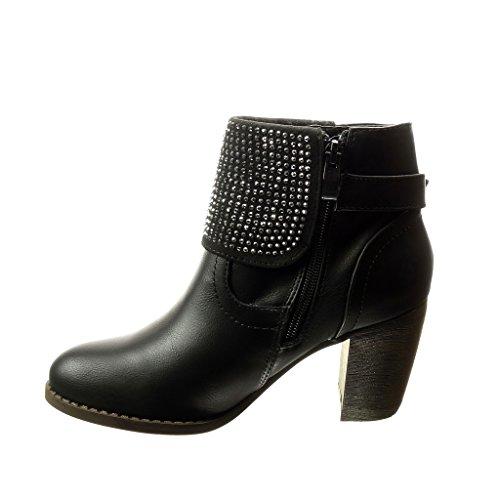 Angkorly - damen Schuhe Stiefeletten - Abend - Strass - Schleife Blockabsatz high heel 8 CM - Schwarz