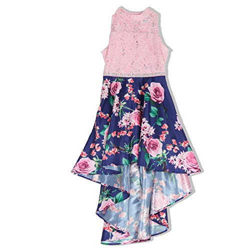 Speechless Girls' Big Party Dress with Dramatic High-Low Hemline, Blue/Pink Floral, 7 -