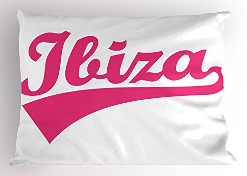 Lunarable Ibiza Pillow Sham, Retro Hand Lettering Balearic Islands South Spain Cursive Writing and Stripe, Decorative Standard King Size Printed Pillowcase, 36 X 20 Inches, Pink and White by Lunarable