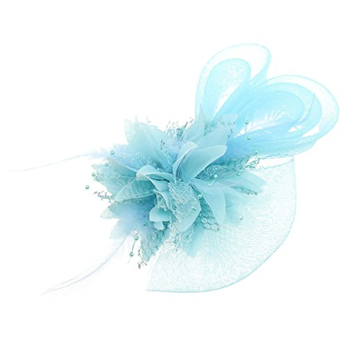 Auranso Derby Netting Mesh Headband Feather Big Flowers Hair Band Tea Party Girls Women Wedding Bridal Fascinator Hat Sky -
