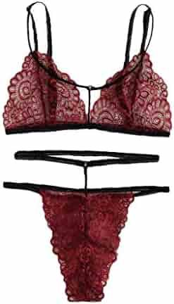 e9a57b06e016 Bohelly 2019 New Sexy Floral Lace Lingerie Bra+G-String Thong Set Babydoll  Sleepwear
