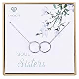 CHICLOVE Soul Sisters Necklace - Sterling Silver Two-Circle Pendant Necklace Engraved Soul Sister