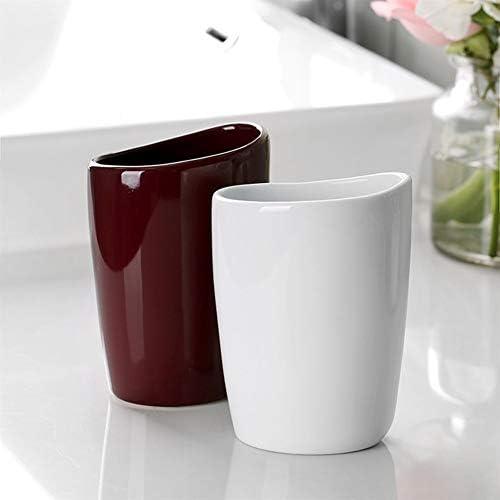 FXin バスルームアクセサリー、シンプルな光沢のあるセラミックカップルバスルームセット4ノルディックバスルームウォッシュセットワインレッド、3つの組み合わせ シャワー室 (Color : C)