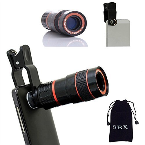 SBX 8x Magnifier Zoom Aluminum Universal Manual Focus Telephoto Telesocpe Phone Camera Lens Kit with Universal Clip for iPhone 6 6 Plus 5C 5S 5 4S 4 Samsung Galaxy S3/i9300/S4/i9500/S5/Note 1/2/3 by SBX