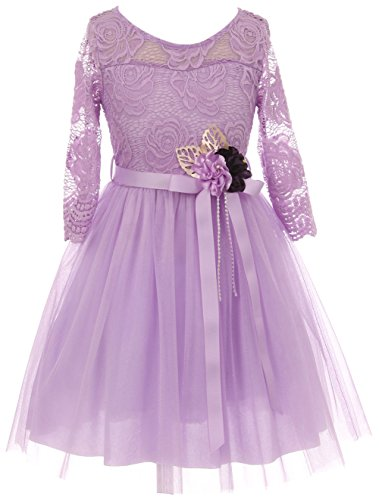 Big Girl Floral Lace Top Tulle Flower Holiday Party Flower Girl Dress USA Lilac 14 JKS -