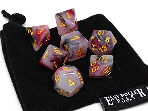 Brimstone Swirl Dice Set | 7 Piece | Pristine Edition | Free Carrying Bag | Hand Checked Quality (High Roller Dice)