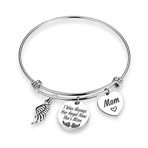 EIGSO Memorial Bracelet I was Always Her Angel Now She is Mine Remembrance Jewelry Bereavement Gift in Memory of Mommy Sympathy Gift for Loss of Mom (her Angel mom BR)