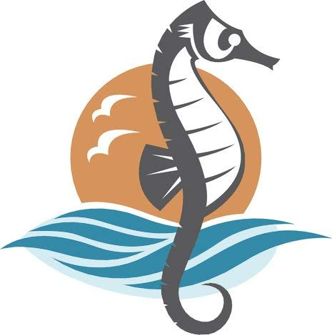 BW MAG Magnet Cool Simple Nautical Ocean Waves Silhouette Cartoon Icon - Seahorse (8