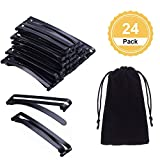 Canomo 24 Pack Stay Tight Grip Open Center Hair Barrettes Metal Hair Clips for Girls and Women, 60mm(Black)