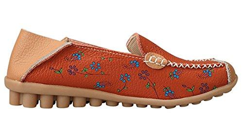 Cuir Creux Plates Auspicious Sur Mocassins Floral Chaussures Beginning Des Imprimé En Avec Orange pzjqUSVMLG