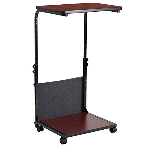 27.5'' - 46.75'' Mobile Sit-Down, Stand-Up Mahogany Computer Desk w/ Removable Pouch (Adjustable Range 27''- 46.5'') (1 Desk) - FF-MT-6288-1-GG