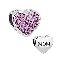 I Love Mom Heart Jewelry Charm Clear Birthstone Crystal New Bead Fit Pandora Bracelet