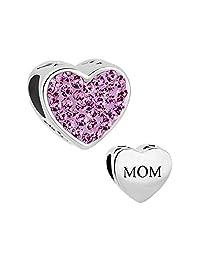 I Love Mom Heart Jewelry Charm Clear Birthstone Crystal New Bead For Bracelets