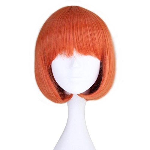Miss U Hair Girl's Short Straight Harajuku Style Orange Bobo Hair Cosplay Party Wig (C092 30cm