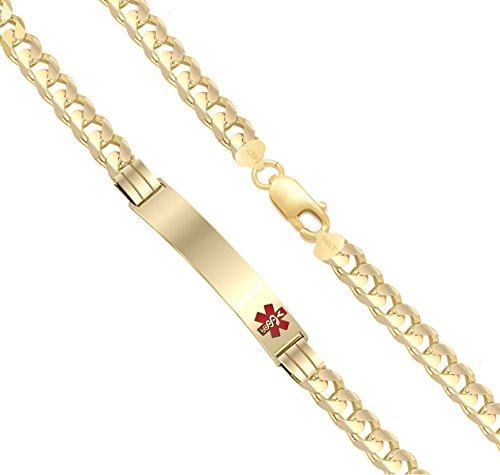 Customizable Ladies 14k Yellow Gold 5.5mm Curb Medical Alert ID Bracelet with Free Engraving, 7in