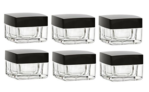 0.5 Ounce Square Glass (Nakpunar 6 pcs 1/2 oz Acrylic Square Plastic Jar with Airtight Black Shiny Lid and Liner)