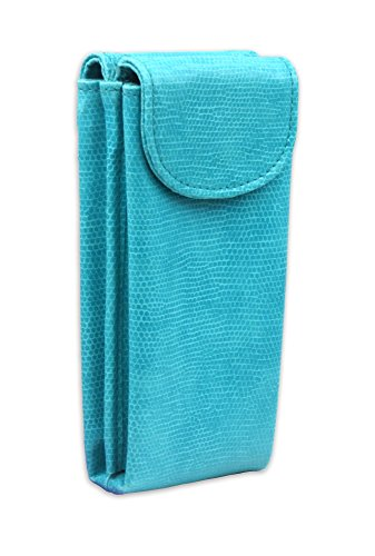 Double Eye Case - Double Eyeglass Case for 2 frames | Semi Soft pouch with magnetic closure | comes with 2 microfiber cleaning cloths (IP836 Turquoise Snake)