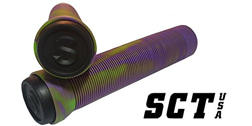 SCT USA Scooter Bar Grips with SCT USA High Rebound Rubber Bar Ends (Purple/Green (Bar Blend)
