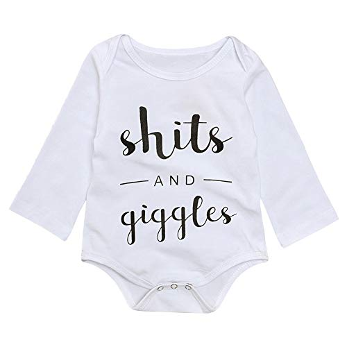 Newborn Baby Boy Girl Clothes Funny Letter Bodysuit Romper Outfits (B-White, 0-3 Months) (Funny Newborn Outfits)