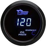 Docooler 52mm 2.0 inch LCD 0~120PSI Auto Car Digital Oil Pressure Meter Gauge with Warning Sensor Light - Black