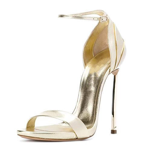 Girl's Women's Party High Buckle Open Heels Fashionable Gold Toe Sandals Temperament Wr7S0wgrq