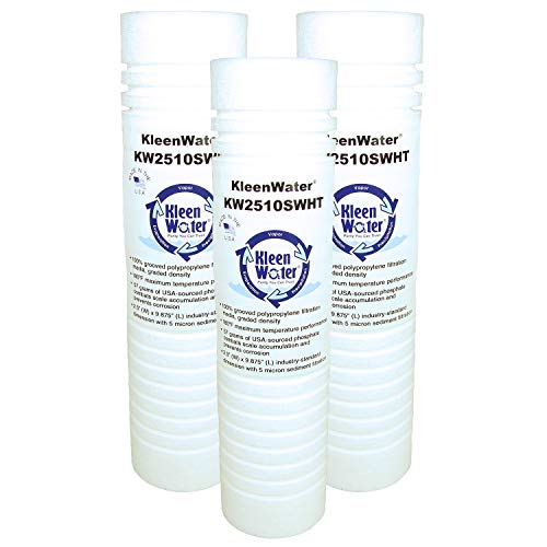 KleenWater High Temperature Water Filters, 2.5 x 9.75 Inch with Scale Inhibitor, Maximum Temperature 180 degrees, 3 Pack