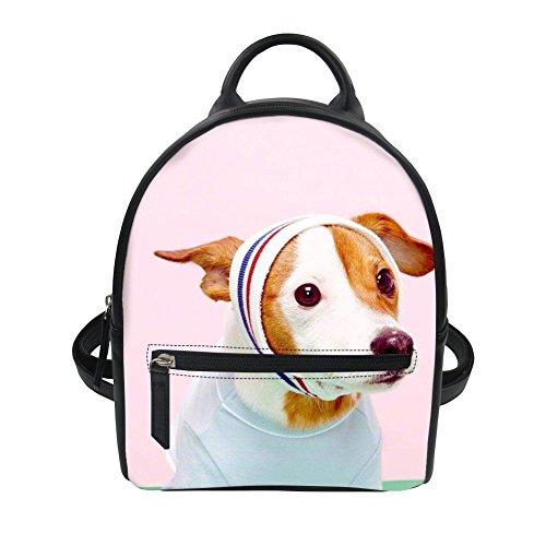 Jack Russell Terrier Leather Shoulder School Bag Kid Lunch Box Animal Backpack Sannovo
