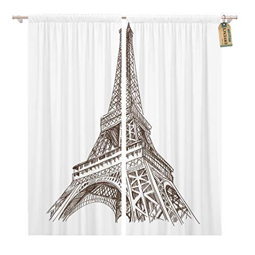 Golee Window Curtain Sketch Eiffel Tower Paris France Architecture Building City Scape Home Decor Rod Pocket Drapes 2 Panels Curtain 104 x 63 inches
