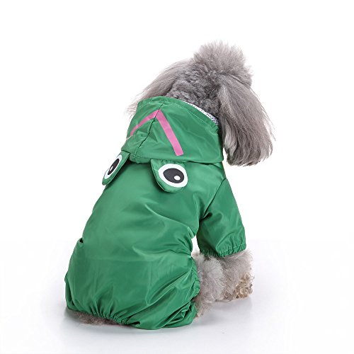 YOMXL Rabbit/Frog Hooded Raincoat for Small Dogs,Cute Pet 4-Legs Waterproof Jumpsuit for Rain Day Puppy Dog Outdoor Coat