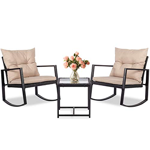 Vnewone 3 Pieces Patio Set Outdoor Wicker Patio Furniture Sets Rocking Chair Bistro Set Rattan Chair Conversation Sets with Coffee Table for Yard and Bistro,Black
