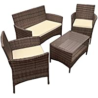 ALEKO RTFS7505BRB Caprera Set Rattan Wicker Furniture 4-Piece Indoor Outdoor Coffee Table Set, Brown