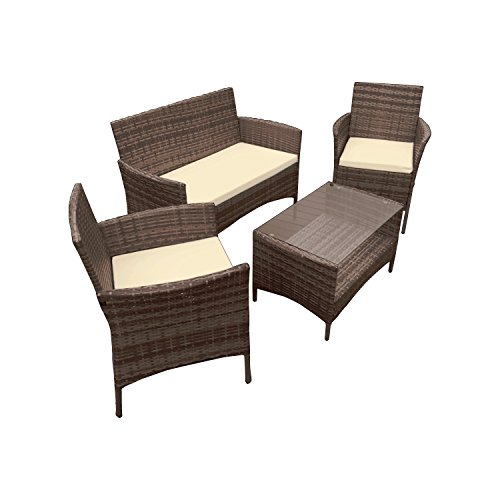 ALEKO RTFS7505BRB Caprera 4 Piece Polyethylene Wicker Rattan Outdoor Patio Deck Furniture Set Coffee Table Love Seat with Cushions Brown and - Palm Springs Wicker