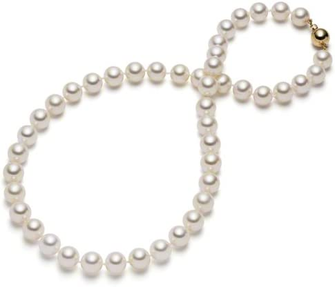 3 Rows Natural 7-8mm White Akoya Cultured Pearl Necklace 17-19/'/' Shell Clasp AAA