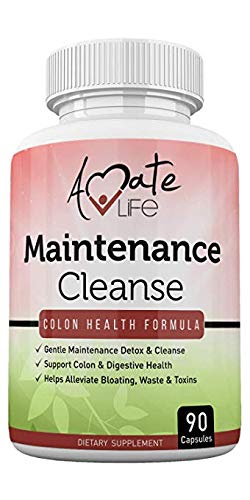 (Colon Maintenance Colon Cleanse Support Supplement- Daily Maintenance Detox Formula- Bloating & Constipation Relief Laxative with Psyllium Husk, Aloe Vera, Black Walnut Hull- 90 Capsules by Amate)