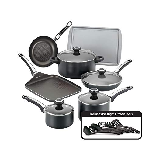 Farberware 21809 High Performance Nonstick Cookware Pots and Pans Set Dishwasher Safe, 17 Piece, Black