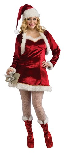 (Secret Wishes Santa's Helper Red Velour 4-Piece Costume, Red, Plus)
