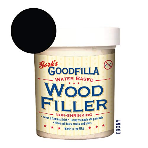 Water-Based Wood & Grain Filler - Ebony - 8 oz By Goodfilla   Replace Every Filler & Putty   Repairs, Finishes & Patches   Paintable, Stainable, Sandable & Quick ()