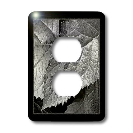 3dRose LLC lsp_33469_6 Silver and Gray Metallic leaves with Black Frame - 2 Plug Outlet Cover