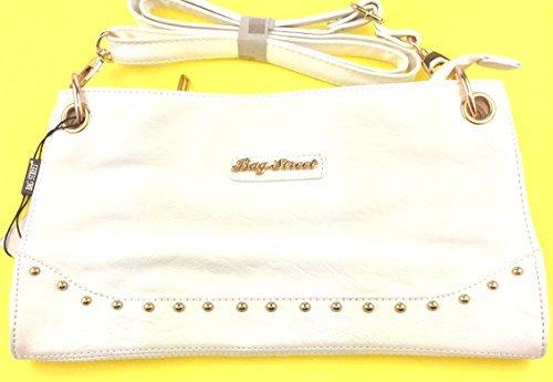 NB24 Tasche (3988), Damentasche, Schultertasche, Umhängetasche, Abendtasche, Clutch, wollweiß cremeweiß mit goldenen Zierelementen