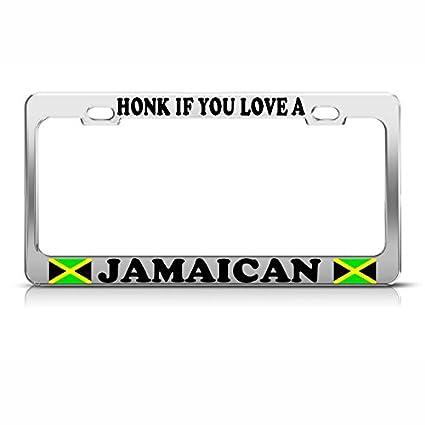 JAMAICAN AMERICAN FLAG NOVELTY LICENSE PLATE TAG FOR CARS JAMAICA FLAG