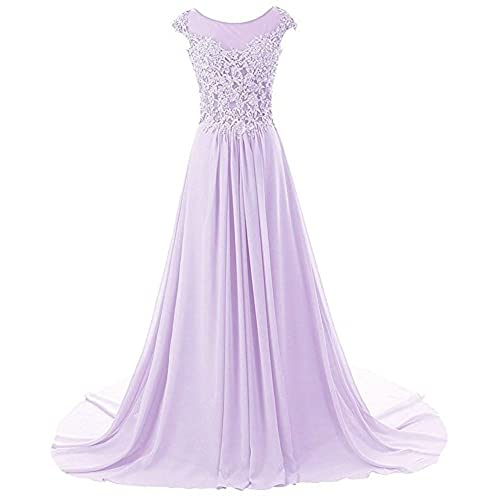 JAEDEN Prom Dresses Long Evening Gowns Lace Bridesmaid Dress Chiffon Prom Dress Cap Sleeve Lilac US8
