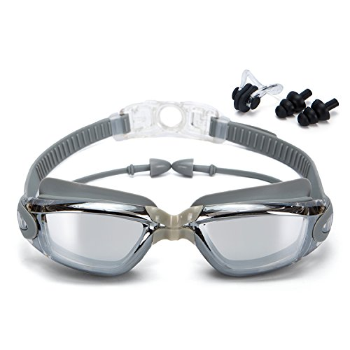 Clear Swimming Goggles with Anti-Fog 100% UV Protection No Leaking Triathlon Swim glasses with Free Earplugs, Protection Case and Nose clips for Adult Men Women by hjqloveclp