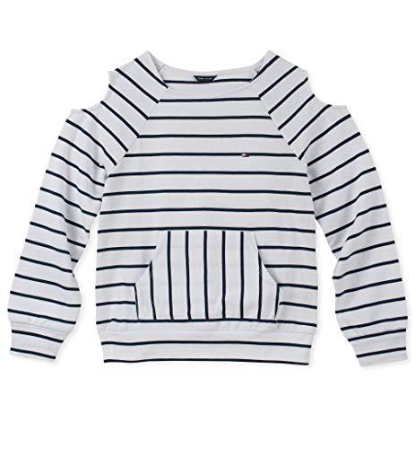 Tommy Hilfiger Big Girls' Cold Sholder Stripe Hoodie, White, X-Large (16)