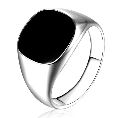 - DDLBiz Men Classic Solid Polished Stainless Steel Signet Ring Gold/ Silver ,Size: 7,8,9,10,11,12 (11, Silver)