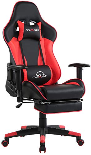 Acmate Massage Gaming Chair Ergonomic Computer Chair with Footrest Reclining Computer Gaming Chair Racing Style Gamer Chair High Back Gaming Desk Chair with Headrest and Lumbar Support(Black/Red)