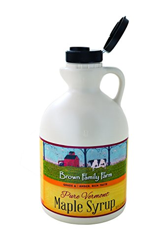 Brown Family Farm Maple Syrup, Pure Vermont Grade A, Amber Color, Rich Taste, 32 Ounce (Syrup Vermont Maple)